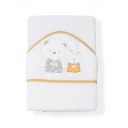 Froté osuška 100x100 medvedík, králik, domček biela oranžový lem