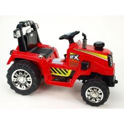 Traktor 12V, s mohutnými kolesami a konštrukciou, svetelnými LED efekty, 2xnáhon, červený