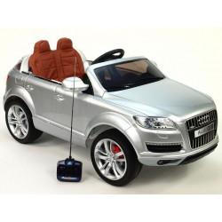 Audi Q7 s DO, prehrávačom, čalunením, pérovaním, EVA kolesami, bohatým osvetlením, 12V, strieborná metalíza