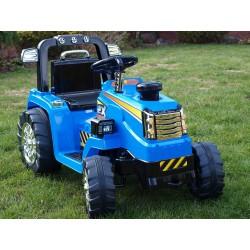 Traktor 12V, s mohutnými kolesami a konštrukciou, svetelnými LED efekty, 2xnáhon, modrý