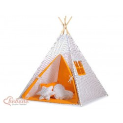 Dětský stan TÝPÍ varianta tečky na bílém + oranžová