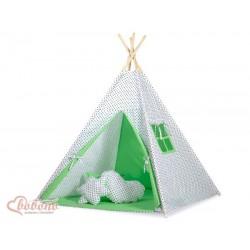 Dětský stan TÝPÍ varianta bodky na bílém + zelená