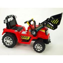 Traktor s ovládateľnou lyžícou 12V, mohutnými kolesami a konštrukcio, zvukovými a sveteľnými efektami, 2xnáhon, červený