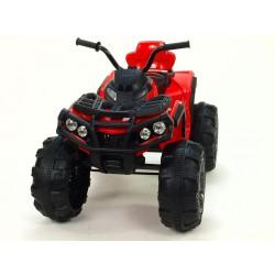 Štvorkolka Predator s FM rádiom, USB,SD,Mp3, LED osvetlením, pérovaním,2x motor,12V, červená