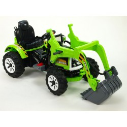 Traktor Kingdom s ovladatelnou výkopovou lyžicou, mohutnými kolesami a konstrukciou, 2x motor 12V, 2x náhon, zelený