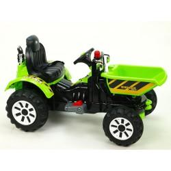 Traktor Kingdom s výklopnou korbou, mohutnými kolesami a konštrukciou, 2x motor 12V, 2x náhon, zelený