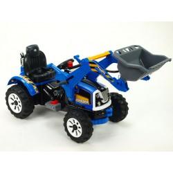 Traktor Kingdom s ovladatelnou výkopovou lyžicou, mohutnými kolesami a konstrukciou, 2x motor 12V, 2x náhon, modrý