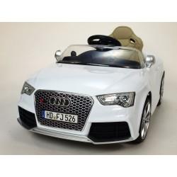 Audi RS5 s 2,4G DO, SD kartou, zvuk a LED efektami, čaluneným sedadlom, biela farba