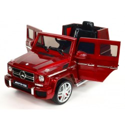 Mercedes G63 AMG s 2.4G DO, 12V, otváracími dverami, pérováním nápravy, prehrávačom, lakovaný vínovou metalízou