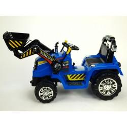 Traktor s ovládateľnou lyžícou 12V, mohutnými kolesami a konštrukcio, zvukovými a sveteľnými efektami, 2xnáhon, modrý