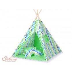 Detský stan Mini sada s obojstrannou dekou-Cik-Cak zelený