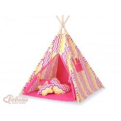 Detský stan Mini sada s obojstrannou dekou-Cik-Cak ružovo-žltý