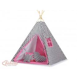 Detský stan Mini sada s obojstrannou dekou-Cik-Cak čierno-ružový
