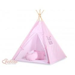 Detský stan Mini sada s obojstrannou dekou-bodky na ružovom podklade