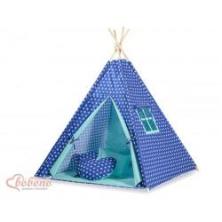 Detský stan Mini sada s obojstrannou dekou-Hviezdy na modrom podklade, podšité mätovou latkou