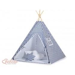 Detský stan Mini sada s obojstrannou dekou-Cik-Cak tmavo-modrý
