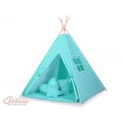 Detský stan Mini sada s obojstrannou dekou-Trojuholníky mätové