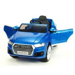 Audi Q7 NEW s 2,4G DO, otváracími dverami, FM, USB,EVA kolesami, LED osvietením, modrá metalíza, stredná veľkosť