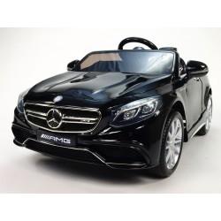 Mercedes - Benz S63 AMG, s 2.4G DO, pérovaním obidvoch náprav, 12V, čierne lakované