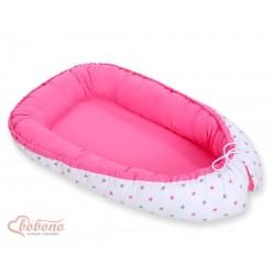 Obojstranný kokon pre bábätko - Hviezdy šedo-ružové