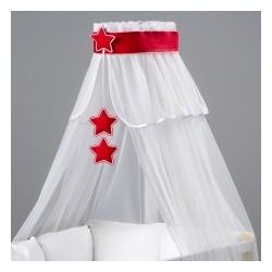Nebesá šifón - biela / červené hviezdičky