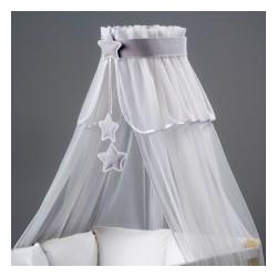 Nebesá šifón - biela / sivé hviezdičky