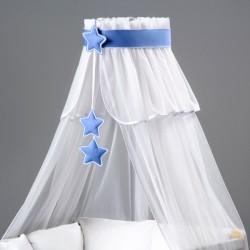 Nebesá šifón - biela /  modré hviezdičky