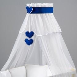 Nebesá šifón - biela / srdce modré