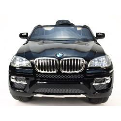BMW X6 s 2,4G bluetooth DO, EVA kolesami, otváracími dverami,12V, čalunenou vyšívanou sedačkou, lakované čiernou farbou