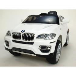 BMW X6 s 2,4G bluetooth DO, EVA kolesami, otváracími dverami,12V, čalunenou vyšívanou sedačkou, biele nelakované
