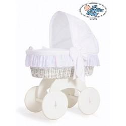 Prútený kôš pre bábätko biely SOPHIA s krajkou