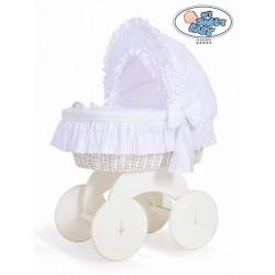 Prútený kôš pre bábätko biely CHARLOTTE s krajkou