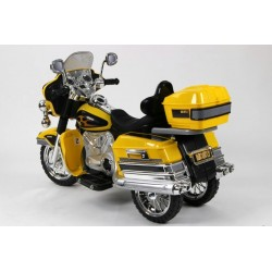 Cestovná motorka Mostly goldwing, 12V, Mp3, voltmeter, 2x motor, žltá