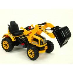 Traktor Kingdom s ovladatelnou výkopovou lyžicou, mohutnými kolesami a konstrukciou, 2x motor 12V, 2x náhon, žltý