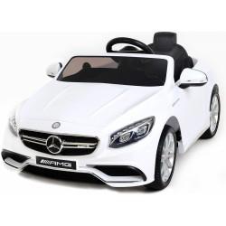 Mercedes - Benz S63 AMG, s 2.4G DO, pérovaním obidvoch náprav, 12V, lakovný biely