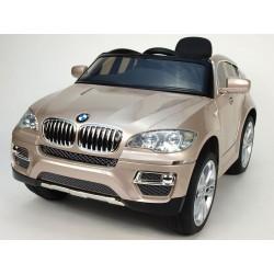 BMW X6 s 2,4G bluetooth DO, EVA kolesami, otváracími dverami,12V, čalunenou vyšívanou sedačkou, lakované champagne metaliza