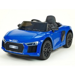 Audi R8 Spyder s 2.4G DO, EVA kolesami, otváracími dverami, LED osvetlením, FM, čalunenou sedačkou, lakované modré