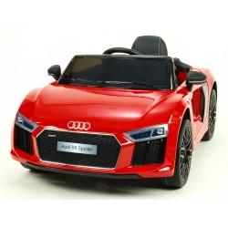 Audi R8 Spyder s 2.4G DO, EVA kolesami, otváracími dverami, LED osvetlením, FM, čalunenou sedačkou, lakované červené