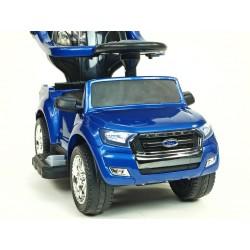Ford Ranger pre najmenších, 6V, s vodiacou tyčou, strieškou, madlami, 2 opierkami, Mp3, TF card, lakovaná modrá metalíza