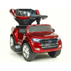 Ford Ranger pre najmenších, 6V, s vodiacou tyčou, strieškou, madlami, 2 opierkami, Mp3, TF card, lakovaná čierna metalíza