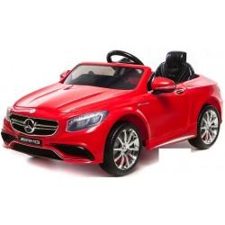 Mercedes - Benz S63 AMG, s 2.4G DO, pérovaním obidvoch náprav, EVA kolesami,12V, jahodovo červený