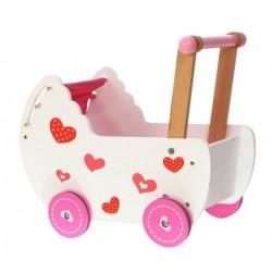 Drevený kočík pre bábiky ECO TOYS - ružový