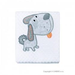 Detská deka Koala Bublinky psík v Eko krabičke svetlo  biela