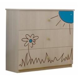 Detská komoda - Macko kvietok modrý
