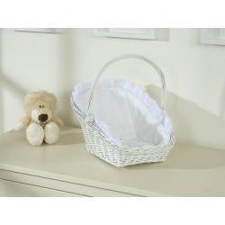 Prútený košík pre bábiky biely