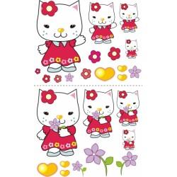 Nástenná dekorácia Mačička s kytičkou