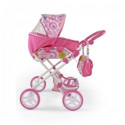 Kombinovaný kočík pre bábiky Milly Mally Paulína ružovo-biely