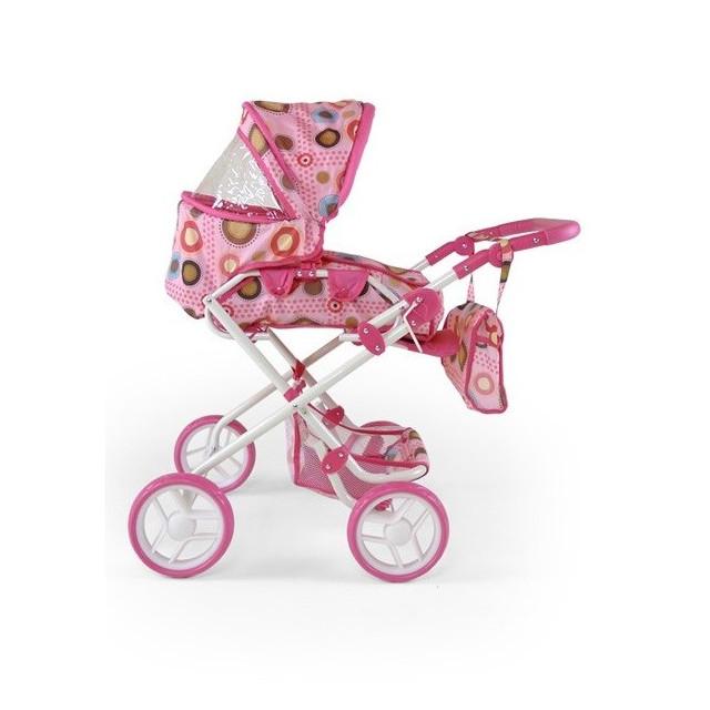 Kombinovaný kočík pre bábiky Milly Mally Paulína ružovo-hnedý