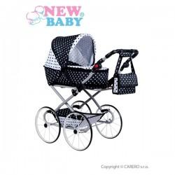 Detský Retro kočík pre bábiky 2v1 New Baby Natálka bielo-čierny