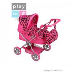HHlboký kočík pre bábiky PlayTo Viola ružový